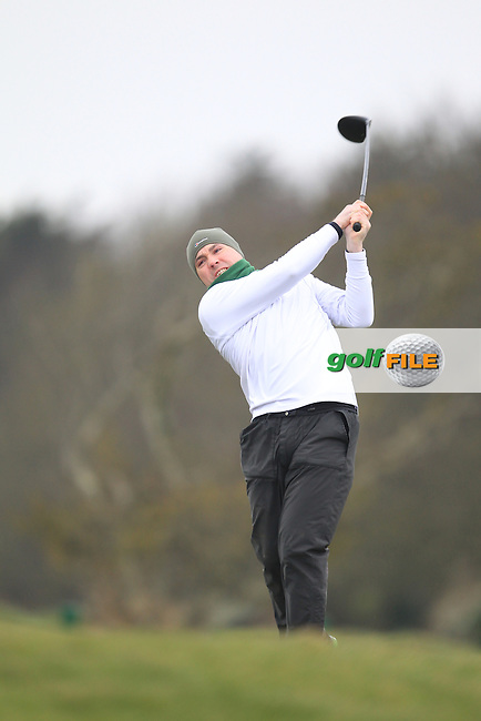 Robert Richardson (The Island) on the 1st teeing off in the Hilary golf society in Co Louth Golf Club 24/3/13.Picture: Fran Caffrey / www.golffile.ie ..