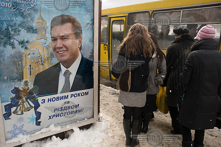A billboard with a picture of Victor Yanukovych (Party of Regions), one of the candidates running in the 2010 Presidential elections.