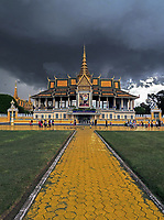 Storm approaching over the Grand Performance Hall at the Grand Palace in Phnom Penh, Cambodia.