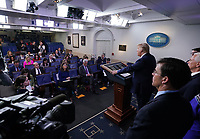 United States President Donald J. Trump delivers remarks on the COVID-19 (Coronavirus) pandemic alongside members of the Coronavirus Task Force in the Brady Press Briefing Room at the White House in Washington, DC on Wednesday, March 18, 2020.     <br /> Credit: Kevin Dietsch / Pool via CNP/AdMedia