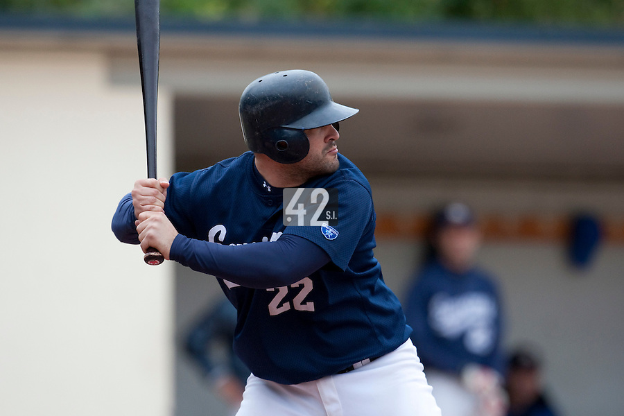 03 october 2009: Vincent Ferreira of Savigny is seen at bat during game 1 of the 2009 French Elite Finals won 6-5 by Rouen over Savigny in the 11th inning, at Stade Pierre Rolland stadium in Rouen, France.