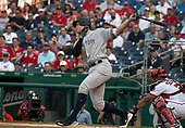 New York Yankees right fielder Aaron Judge (99) strikes out in the first inning against the Washington Nationals at Nationals Park in Washington, D.C. on Monday, June 18, 2018.  This is the make-up game that was scheduled to be played on May 16, 2018 that was postponed due to rain.<br /> Credit: Ron Sachs / CNP<br /> (RESTRICTION: NO New York or New Jersey Newspapers or newspapers within a 75 mile radius of New York City)