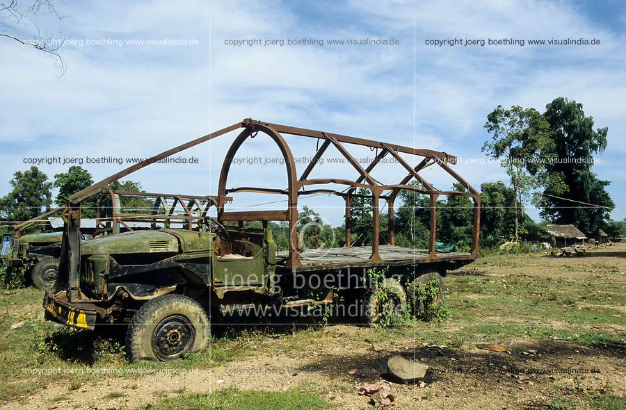 CAMBODIA, Mekong region, Stung Treng, logging of rainforest, logger camp, abandoned army truck, type Ural made in russia,  for log transport