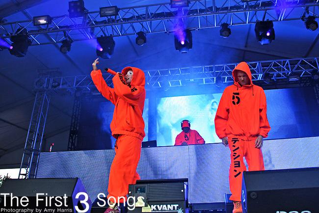 Ninja (aka. Watkin Jones) and Yo-Landi Vi$$er (aka. Yolandi Visser, Anri du Toit) of Die Antwoord perform during the The Voodoo Experience at City Park in New Orleans, Louisiana.