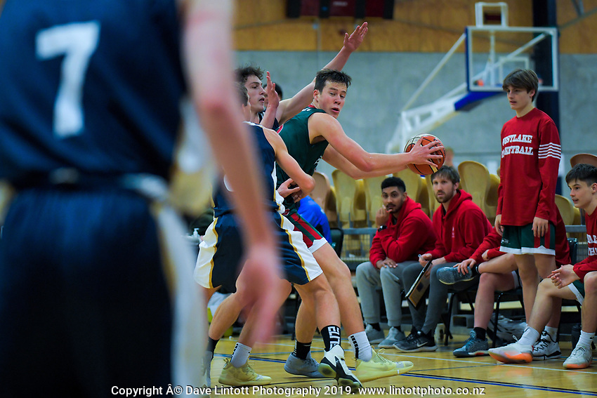 Action from the 2019 Schick AA Boys' National Secondary Schools Basketball Championships 7th place playoff between Tauranga Boys' College and Westlake Boys' High School at the Central Energy Trust Arena in Palmerston North, New Zealand on Saturday, 5 October 2019. Photo: Dave Lintott / lintottphoto.co.nz