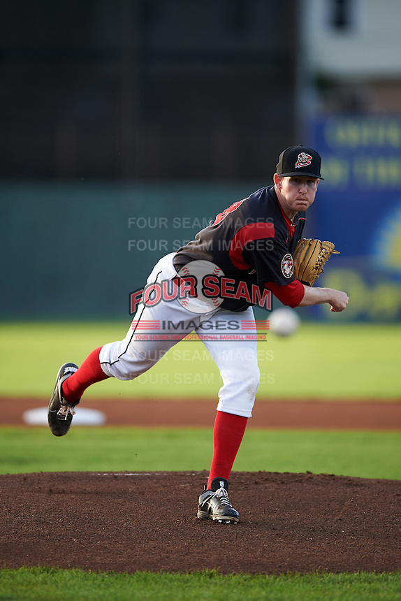 Batavia Muckdogs pitcher Chuck Weaver (38) delivers a pitch during a game against the Williamsport Crosscutters on August 27, 2015 at Dwyer Stadium in Batavia, New York.  Batavia defeated Williamsport 3-2.  (Mike Janes/Four Seam Images)