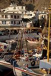 Crete, Khora Sfakion, traditional fishing boats, Southwest coast of Crete, Greece, Mediterranean Sea, boat harbour, .
