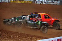 Apr 16, 2011; Surprise, AZ USA; LOORRS driver Rick Huseman (36) follows Adrian Cenni (11) during round 3 at Speedworld Off Road Park. Mandatory Credit: Mark J. Rebilas-.