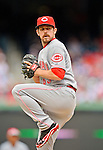 12 April 2012: Cincinnati Reds pitcher Sam LeCure in action against the Washington Nationals at Nationals Park in Washington, DC. The Nationals defeated the Reds 3-2 in 10 innings to take the first game of their 4-game series. Mandatory Credit: Ed Wolfstein Photo