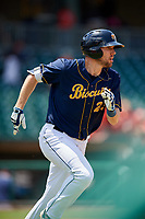 Montgomery Biscuits right fielder Ryan Boldt (23) run to first base during a game against the Biloxi Shuckers on May 8, 2018 at Montgomery Riverwalk Stadium in Montgomery, Alabama.  Montgomery defeated Biloxi 10-5.  (Mike Janes/Four Seam Images)