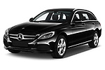 2018 Mercedes Benz C Class Base 5 Door Wagon angular front stock photos of front three quarter view