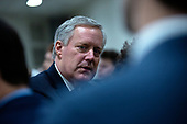United States Representative Mark Meadows (Republican of North Carolina) waits to speak to members of the media in the Senate Subway during a break in the impeachment trial of United States President Donald J. Trump at the United States Capitol in Washington D.C., U.S., on Monday, January 27, 2020.<br />  <br /> Credit: Stefani Reynolds / CNP
