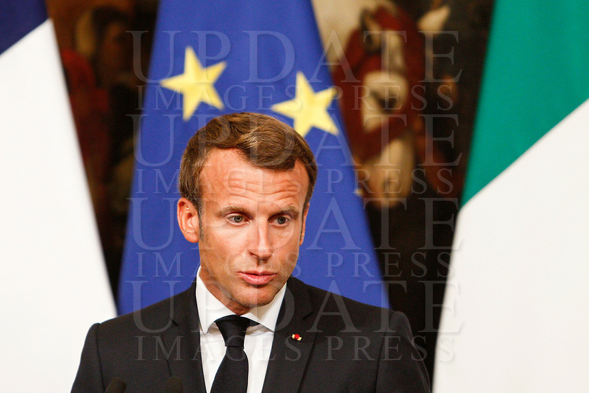 French President Emmanuel Macron attends a joint press conference with the Italian Premier at the end of their meeting at Chigi Palace government office in Rome, September 18, 2019.<br /> UPDATE IMAGES PRESS/Riccardo De Luca
