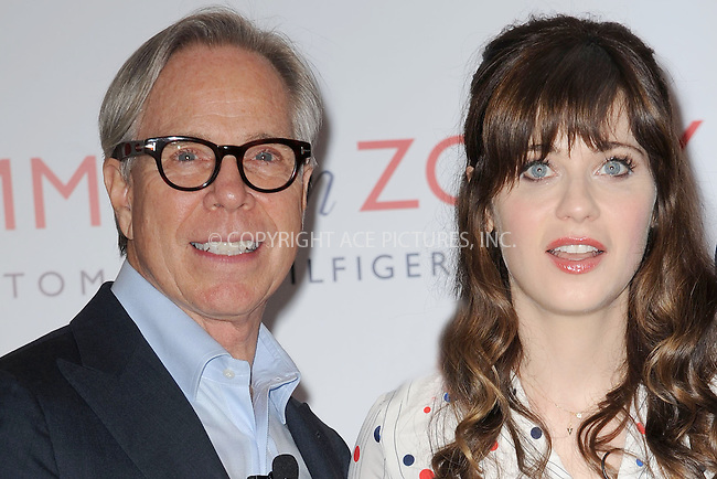 WWW.ACEPIXS.COM<br /> April 14, 2014 New York City<br /> <br /> Tommy Hilfiger and Zooey Deschanel attending the To Tommy, From Zooey Collection Launch Macy's Herald Square on April 14, 2014 in New York City.<br /> <br /> Please byline: Kristin Callahan<br /> <br /> ACEPIXS.COM<br /> <br /> Tel: (212) 243 8787 or (646) 769 0430<br /> e-mail: info@acepixs.com<br /> web: http://www.acepixs.com