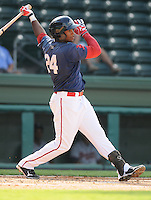 Outfielder Brandon Jacobs (24) of the Greenville Drive, Class A affiliate of the Boston Red Sox, in the first game of a doubleheader against the Rome Braves on August 15, 2011, at Fluor Field at the West End in Greenville, South Carolina. Rome defeated Greenville, 6-3. (Tom Priddy/Four Seam Images)