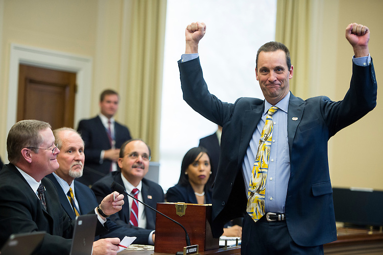 UNITED STATES - NOVEMBER 19: Rep.-elect Steve Knight, R-Calif., celebrates after drawing the 1st pick in the room lottery draw and selection for the incoming members of the 114th Congress on Wednesday, Nov. 19, 2014. (Photo By Bill Clark/CQ Roll Call)