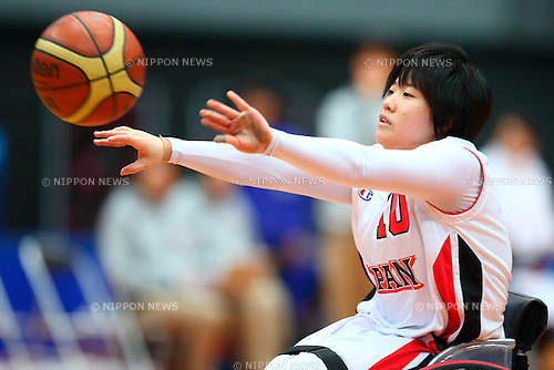 Mayo Hagino (Japan),<br /> FEBRUARY 14, 2015 - Wheelchair Basketball : <br /> 2015 International Women's Wheelchair Basketball Friendship Games OSAKA CUP<br /> Gold Medal Match between Japan 59-42 Great Britain<br /> at Osaka Municipal Central Gymnasiium in Osaka, Japan. <br /> (Photo by Shingo Ito/AFLO SPORT) [1195]