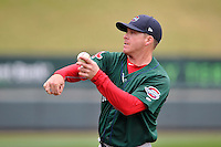 Manager Darren Fenster (3) of the Greenville Drive in a team workout on Wednesday, April 6, 2016, at Fluor Field at the West End in Greenville, South Carolina. (Tom Priddy/Four Seam Images)
