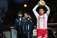 Stevenage manager Darren Sarll and Glenn Roeder look on during Stevenage vs Reading, Emirates FA Cup Football at the Lamex Stadium on 6th January 2018