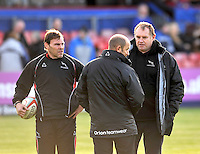 Bedford, England. John Wells Newcastle Falcons Forwards Coach  with Dean Richards Newcastle Falcons Director of Rugby during The Championship Bedford Blues vs Newcastle Falcons at Goldington Road  Bedford, England on November 3, 2012