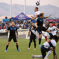 SAN JOSE, CA - AUGUST 24: Magnus Eriksson #7 of the San Jose Earthquakes watches as Florian Jungwirth #23 of the San Jose Earthquakes and Andy Rose #15 of the Vancouver Whitecaps go up for a header during a game between Vancouver Whitecaps FC and San Jose Earthquakes at Avaya Stadium on August 24, 2019 in San Jose, California.