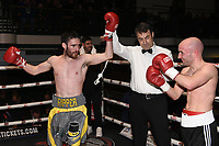Jack Hughes (grey shorts) defeats Gary Reeve during a Boxing Show at York Hall on 3rd March 2018