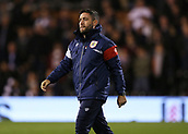 31st October 2017, Craven Cottage, London, England; EFL Championship football, Fulham versus Bristol City; Bristol City Manager Lee Johnson walking towards the dugout from the tunnel before kick off