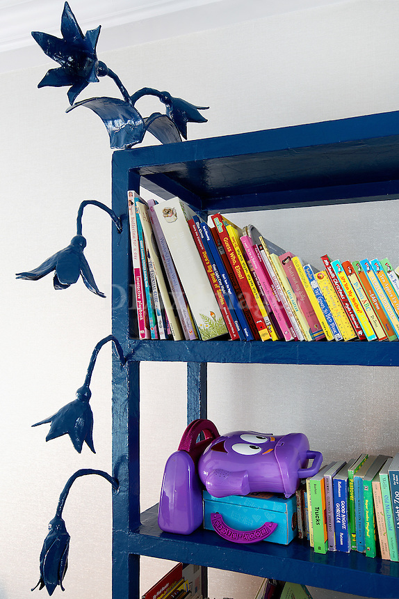 Artwork on bookshelves