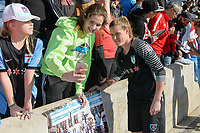Bridgeview, IL - Saturday April 22, 2017: Fans, Alyssa Naeher after a regular season National Women's Soccer League (NWSL) match between the Chicago Red Stars and FC Kansas City at Toyota Park.