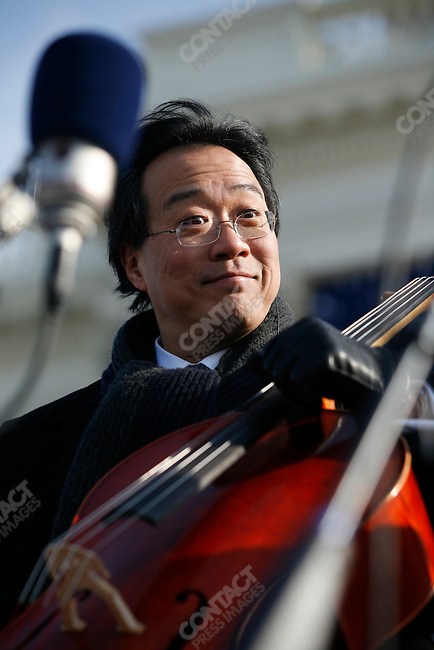 Inauguration of Barack Obama as the 44th President of the United States of America, Yo Yo Ma, performs before the swearing in, Washington D.C., January 20, 2009.