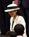July 3, 2016, Tokyo, Japan - Japanese Crown Princess Masako smiles to athletes as she and Crown Prince Naruhito attend the ceremony to form Japanese Olympic delegation for Rio de Janeiro in Tokyo on Sunday, July 3, 2016. Some 300 athletes attended the event.  (Photo by Yoshio Tsunoda/AFLO) LWX -ytd-