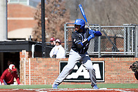 ELON, NC - MARCH 1: Miguel Rivera #17 of Indiana State University waits for a pitch during a game between Indiana State and Elon at Walter C. Latham Park on March 1, 2020 in Elon, North Carolina.