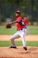 Washington Nationals Abel De Los Santos (59) during a minor league Spring Training game against the Detroit Tigers on March 28, 2016 at Tigertown in Lakeland, Florida.  (Mike Janes/Four Seam Images)