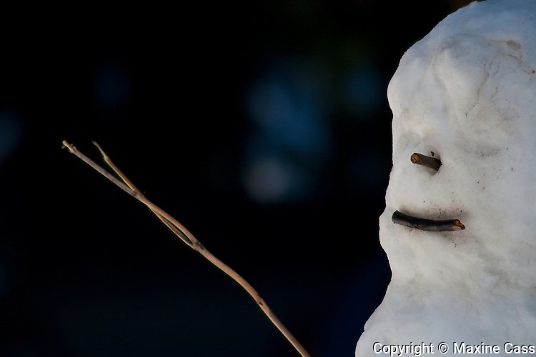 Yosemite snowman in profile appears to hold a wooden wand, Yosemite Lodge at the Falls, Yosemite Valley, Yosemite National Park, California, United States of America