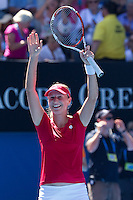 EKATERINA MAKAROVA (RUS) against SERENA WILLIAMS (USA) in the fourth round of the Women's Singles. Ekaterina Makarova beat Serena Williams 6-2 6-3..23/01/2012, 23rd January 2012, 23.01.2012 - Day 8..The Australian Open, Melbourne Park, Melbourne,Victoria, Australia.@AMN IMAGES, Frey, Advantage Media Network, 30, Cleveland Street, London, W1T 4JD .Tel - +44 208 947 0100..email - mfrey@advantagemedianet.com..www.amnimages.photoshelter.com.