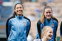 Seattle, WA - Sunday, May 22, 2016: Chicago Red Stars forward Christen Press (23) and goalkeeper Alyssa Naeher (1) during the national anthem prior to a regular season National Women's Soccer League (NWSL) match at Memorial Stadium. Chicago Red Stars won 2-1.
