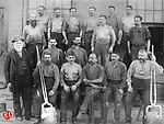 employees from the Benedict & burnham Mfg. Co., took a moment for this photograph in Waterbury, 1888. Benedict & Burnham was a predecessor of the American Brass Co. Norman D. Grannis, bottom row and far left, was the boss caster.