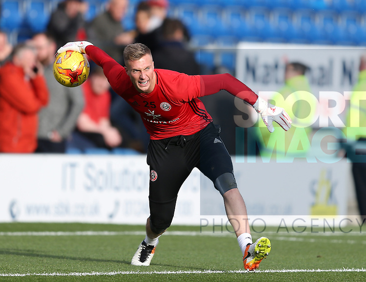 Simon Moore of Sheffield Utd  during the English League One match at the Proact Stadium, Chesterfield. Picture date: November 13th, 2016. Pic Simon Bellis/Sportimage