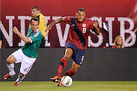 Jermaine Jones (8) of the United States is marked by Gerardo Torrado (6) of Mexico. The men's national teams of the United States (USA) and Mexico (MEX) played to a 1-1 tie during an international friendly at Lincoln Financial Field in Philadelphia, PA, on August 10, 2011.