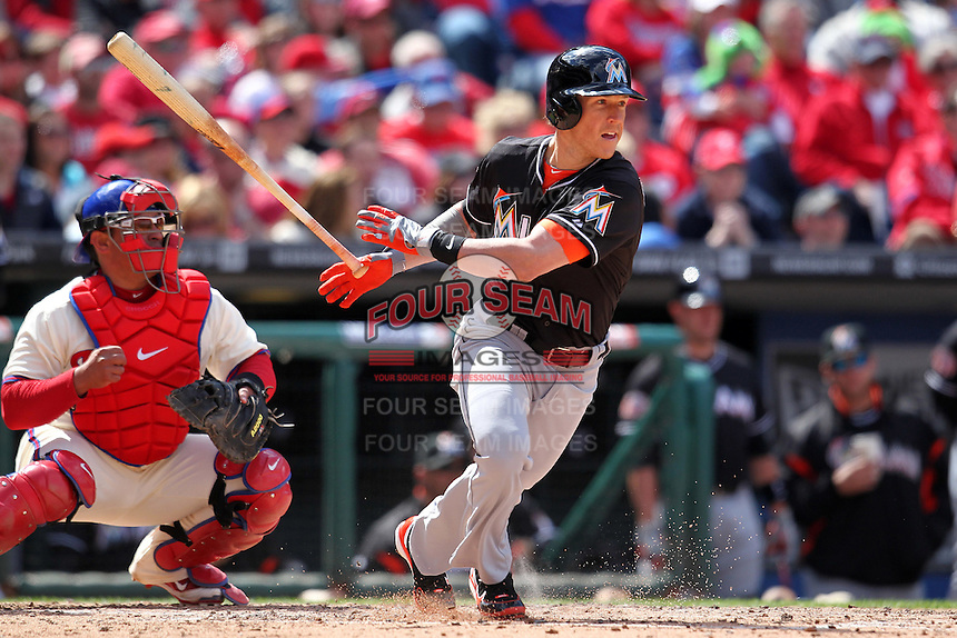 Miami Marlins outfielder Chris Coghlan #8 during a game against the Philadelphia Phillies at Citizens Bank Park on April 9, 2012 in Philadelphia, Pennsylvania.  Miami defeated Philadelphia 6-2.  (Mike Janes/Four Seam Images)