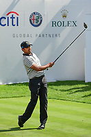Anirban Lahiri (IND) watches his tee shot on 1 during round 2 Four-Ball of the 2017 President's Cup, Liberty National Golf Club, Jersey City, New Jersey, USA. 9/29/2017.<br /> Picture: Golffile | Ken Murray<br /> <br /> All photo usage must carry mandatory copyright credit (&copy; Golffile | Ken Murray)