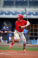 Palm Beach Cardinals third baseman Danny Diekroeger (4) at bat during a game against the Charlotte Stone Crabs on April 12, 2017 at Charlotte Sports Park in Port Charlotte, Florida.  Palm Beach defeated Charlotte 8-7 in ten innings.  (Mike Janes/Four Seam Images)