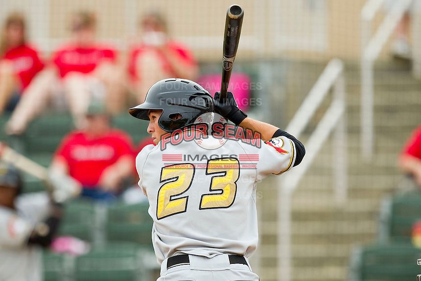 Andrew Maggi #23 of the West Virginia Power at bat against the Kannapolis Intimidators at Fieldcrest Cannon Stadium on April 20, 2011 in Kannapolis, North Carolina.   Photo by Brian Westerholt / Four Seam Images