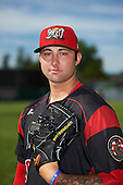 Batavia Muckdogs relief pitcher Chevis Hoover (16) poses for a photo before a game against the West Virginia Black Bears on June 30, 2016 at Dwyer Stadium in Batavia, New York.  Batavia defeated West Virginia 4-3.  (Mike Janes/Four Seam Images)