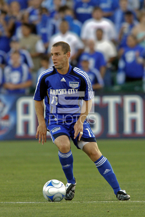 Curt Morsink carries the ball. Kansas City Wizards v New York Red Bulls, Community America Ballpark, Kansas City, Kansas.