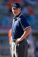 Umpire Andy Dudones prior to the start of the Carolina League game between the Salem Avalanche and the Winston-Salem Warthogs at Ernie Shore Field in Winston-Salem, NC, Saturday, May 10, 2008.