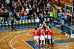 SIOUX FALLS, SD - MARCH 24: Ferris State University huddles before taking Northern State University during the Division II Men's Basketball Championship held at the Sanford Pentagon on March 24, 2018 in Sioux Falls, South Dakota. Ferris State University defeated Northern State University 71-69. (Photo by Tim Nwachukwu/NCAA Photos via Getty Images)