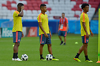 KAZAN - RUSIA, 23-06-2018: Cristian ZAPATA, Wilmar BARRIOS y Juan CUADRADO jugadores de Colombia, durante entrenamiento en Kazan Arena previo al encuentro del Grupo previo al encuentro del grupo H  con Polonia como parte de la Copa Mundo FIFA 2018 Rusia. / Cristian ZAPATA, Wilmar BARRIOS and Juan CUADRADO players of Colombia during training session in KazanArena prior the group H match with Poland as part of the 2018 FIFA World Cup Russia. Photo: VizzorImage / Julian Medina / Cont