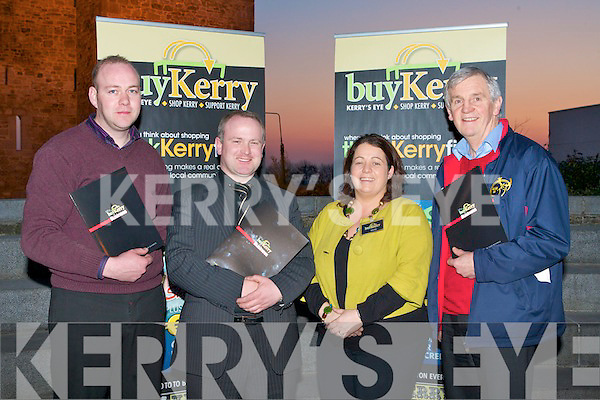BUY KERRY: Attending the Buy Kerry campaign launch in the Seanchai Kerry Literary & Cultural Centre, Listowel on Tuesday l-r: Liam Foley (South West Bins), Ken Hayes (McKenna's Hardware), Tanya Allen (Adverts executive Kerry's Eye) and Paul Taylor  (McKenna Hardware).