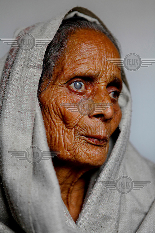 65 year old Shima Devi from India, awaiting cataract treatment at the GETA eye hospital.